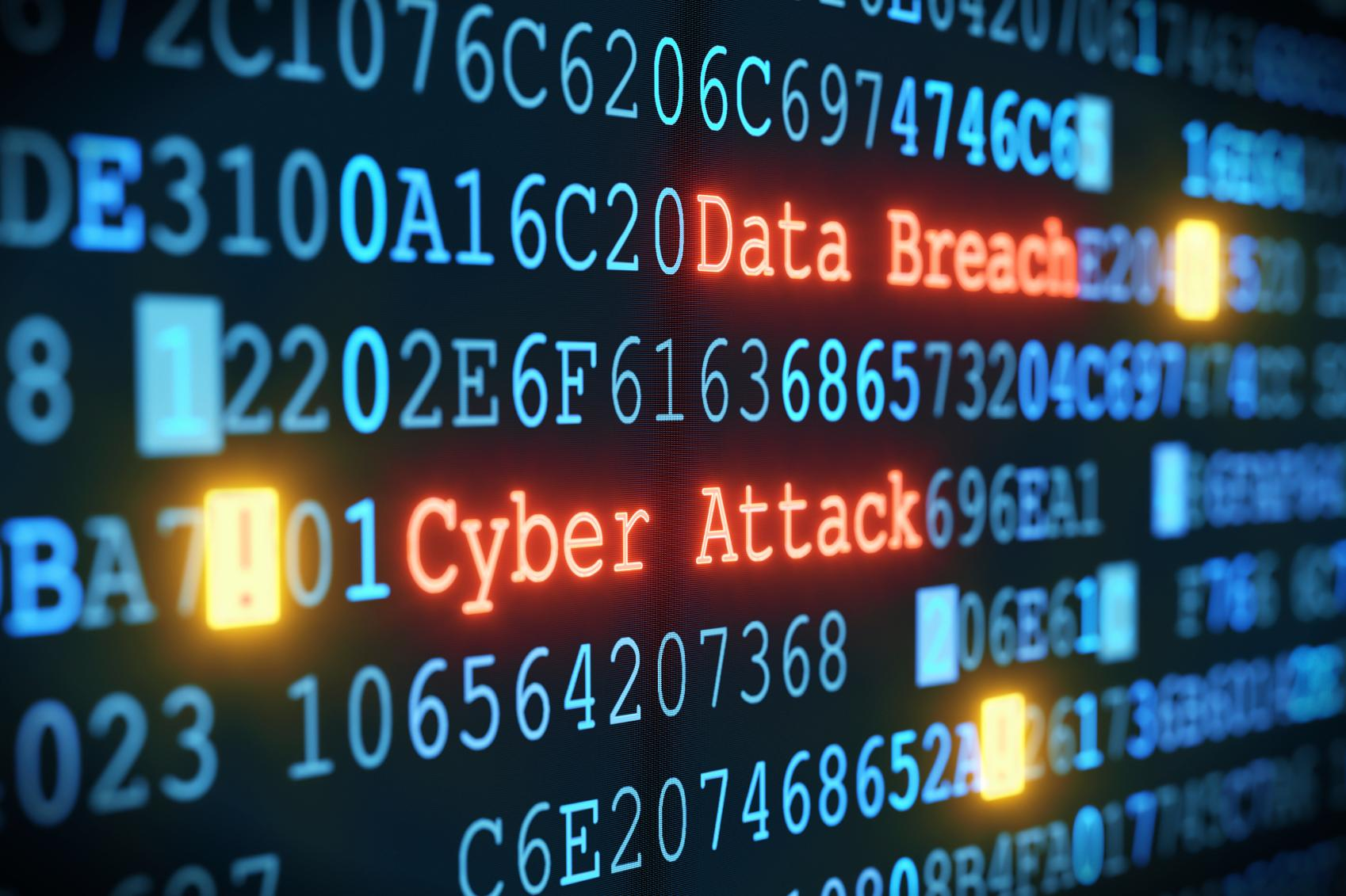 cyber attack and data breach on screen